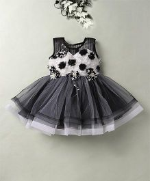 Eiora Party Wear Dress With The Beautiful Color Combination - Black & White