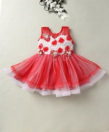 Eiora Party Wear Dress With The Beautiful Color Combination - Red & white