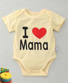 MFM Love Mama Print Half Sleeve Onesie - Yellow