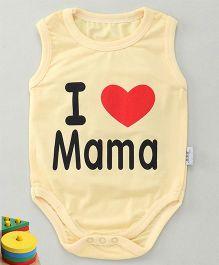 MFM Love Mama Print Sleeveless Onesie - Yellow