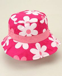 Little Wonder Flower Printed Reversible Hat - Pink