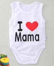 MFM Love Mama Print Sleeveless Onesie - White