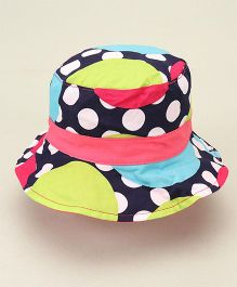 Little Wonder Polka Dot Print Reversible Hat - Dark Blue