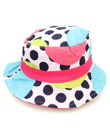 Little Wonder Polka Dot Print Reversible Hat - White