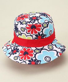 Little Wonder Flowery Reversible Hat - Red & Blue