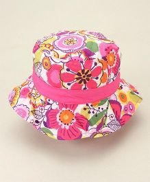 Little Wonder Pretty Flowers Print Hat - Pink