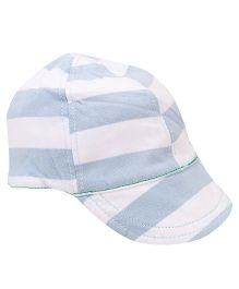 Little Wonder Stripes Print Cap - White & Blue