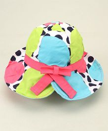 Little Wonder Polka Dot Print Hat With Bow - Multicolor