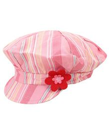 Little Wonder Stripes Print Cap - Pink