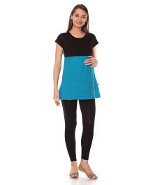 Goldstroms Maternity Nursing Top - Turquoise Black