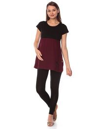 Goldstroms Maternity Nursing Top - Maroon Black