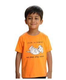 Snowflakes Boys Half Sleeve Tshirt With Puppy Print - Orange