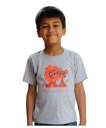 Snowflakes Boys T Shirt  With Lion Print - Light Grey