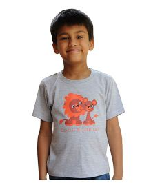 Snowflakes Boys T Shirt  With Lion Print - Light Grey