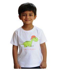Snowflakes Boys T Shirt With Dino Print - White