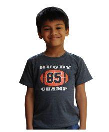 Snowflakes Boys Tshirt With Rugby Champ Print - Dark Grey