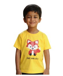 Snowflakes Boys T Shirt With Fox Print - Yellow
