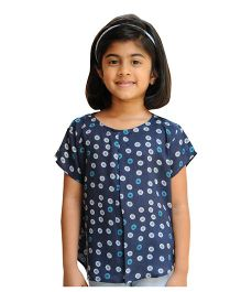 Snowflakes Half Sleeves Top With Circular Prints - Blue