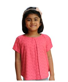 Snowflakes Half Sleeves Hakoba Embroidered Top - Pink