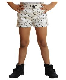 Snowflakes Shorts Dotted Print - White