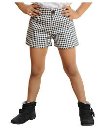 Snowflakes Checks Shorts - White Black
