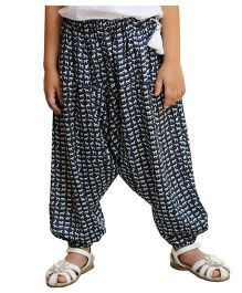 Snowflake Harem Pants With Animal Print - Black