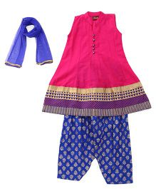 Twisha Patiyala & Kurta Set With Embellished Dupatta - Fuchsia