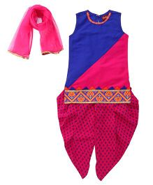 Twisha Kurta With Hem Design & Dhoti Pants With Dupatta - Royal Blue
