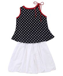Twisha Polka Top With Balloon Skirt - Black