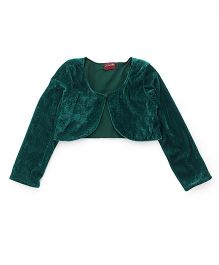 Twisha Stylish Velvet Shrug With Front Button - Green