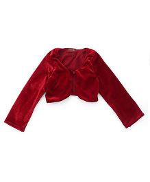 Twisha Stylish Velvet Shrug With Front Button - Maroon