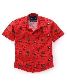 Jash Kids Half Sleeves Shirt Tree Print - Red