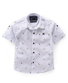 Jash Kids Half Sleeves Shirt Tree Print - White