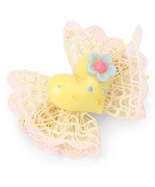 Treasure Trove Heart Applique Frilled Bow Alligator Clip - Yellow