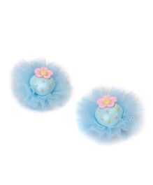 Treasure Trove Strawberry Frilly Flower Clip Pack of 2 - Blue