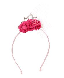 Treasure Trove Crown & Stone Studded Hairband - Dark Pink