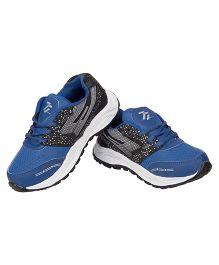 77 Seventy Seven Polka & Mesh Lining Kids Sports Shoes - Black & Royal Blue