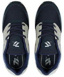 77 Seventy Seven Polka & Mesh Lining Kids Sports Shoes - Grey & Blue