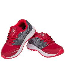 77 Seventy Seven Polka & Mesh Lining Kids Sports Shoes - Grey & Red