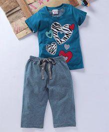 Eimoie Heart Printed Tee & Pajama Night Wear - Teal Blue