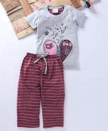Eimoie Heart & Star Printed Tee & Pajama - Maroon