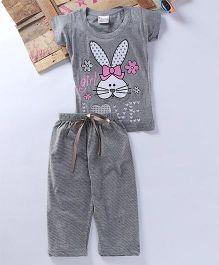 Eimoie Bunny Printed Tee & Pajama - Grey