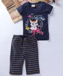 Eimoie Mini Kitten Printed Tee & Pajama - Navy Blue