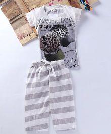 Eimoie Cap Printed Dual Tone Tee & Pajama - Off White