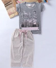 Eimoie Building Printed Tee & Pajama - Grey
