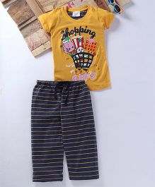 Eimoie Shopping Cart Printed Tee & Pajama - Yellow