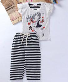 Eimoie Walking Girl Printed Tee & Pajama - Off White