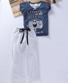 Eimoie Cartoon Character Printed Tee & Pajama - Navy Blue