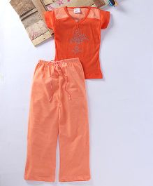 Eimoie Flower Printed Tee & Stripe Pajama - Orange