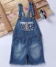Eimoie Contrast Printed Pocket Applique Dungaree - Blue